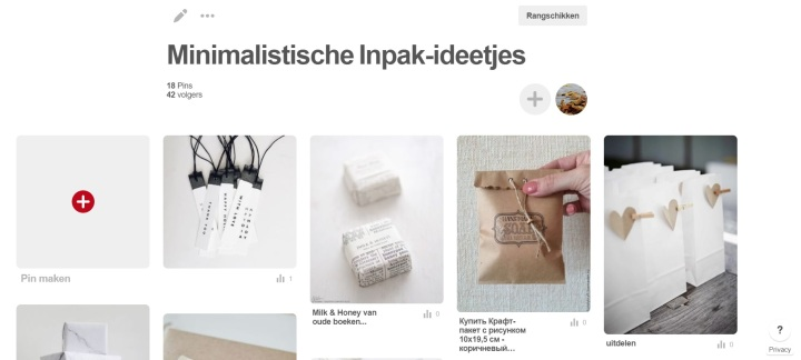 Een Printscreen van mijn Pinterest Cadeau Inpak Ideeën Album