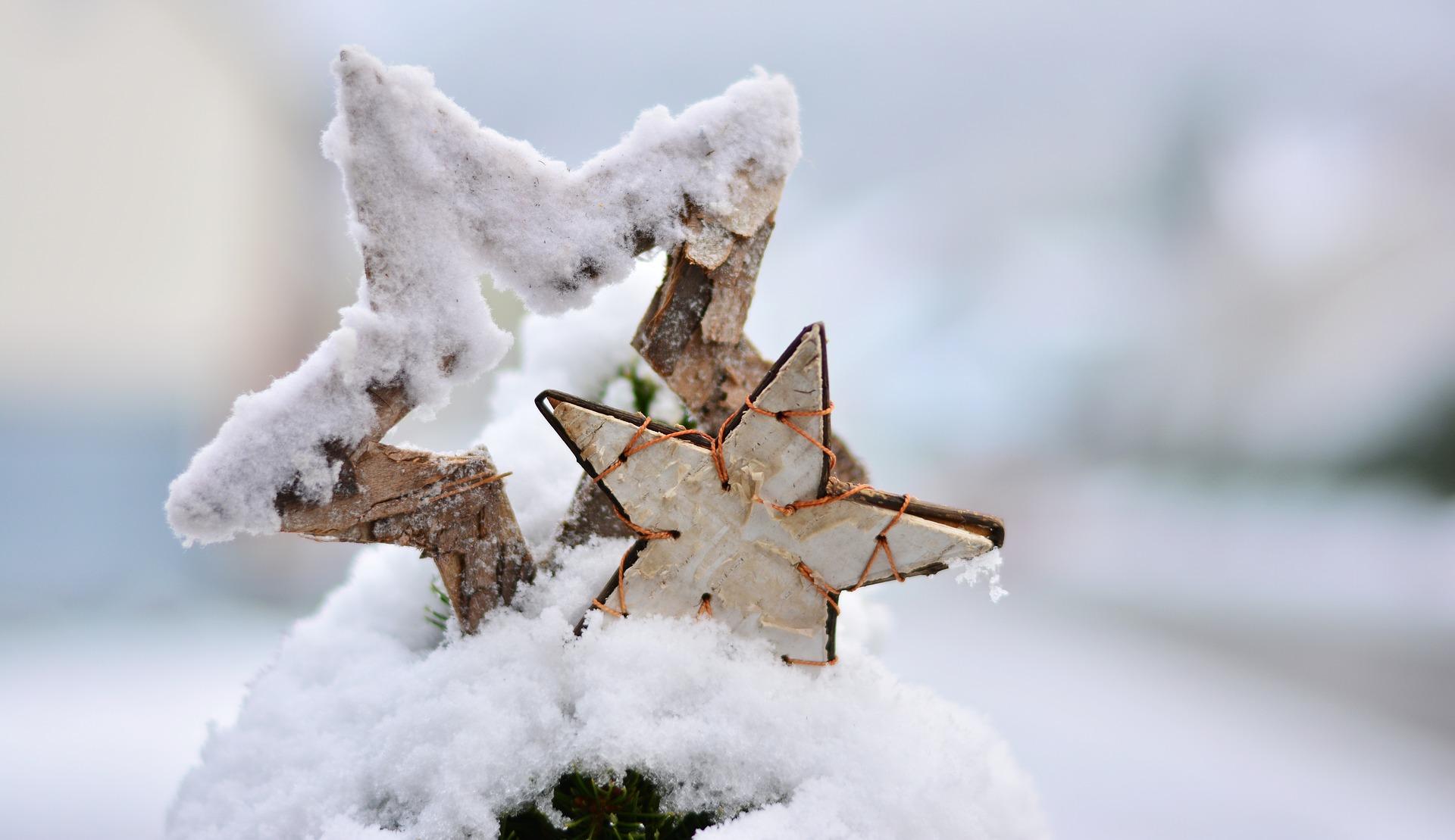 Ster in een sneeuwlandschap kerst