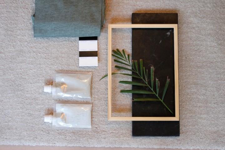 Het interieurplan en moodboard voor deslaapkamer